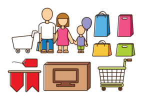 Family Shopping Vectors