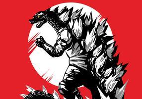 Red Godzilla Vector