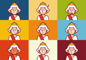 Queen Elizabeth Emotions Expression Vectors