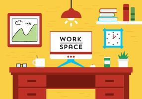 Free Flat Design Vector Work Space