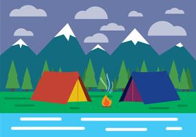 Free Flat Design Vector Landscape With Tent