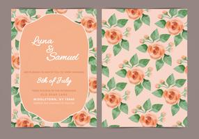 Vector Orange Rose Wedding Invite