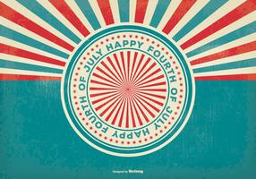 Retro Sunburst Style 4th of July Illustration