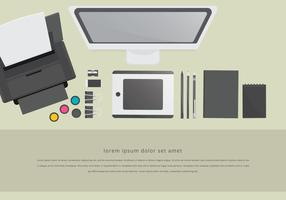 Toner Printer Workspace Layout Staationery Set
