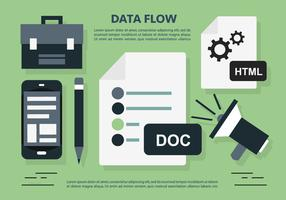 Data Flow Office Workplace Vector Illustration