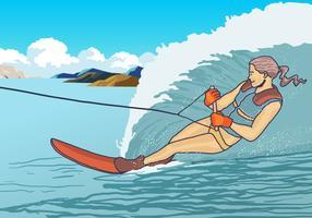 Woman Play Water Skiing Vector