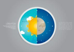 Sun Dial City Weather Clock Illustration