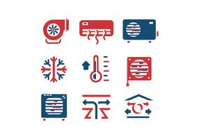 Air conditioning set vector icons
