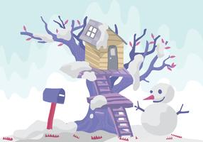 Snowman Tree House Vector Illustration