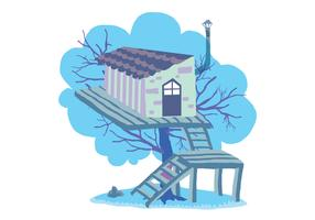 Fun Tree House Vector Illustration