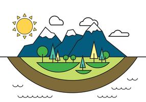 Landscape Island Vector Illustration