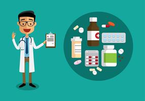 Doctor with Prescription Pad Flat Vector