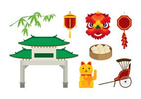 China Town Element Vector Free