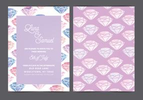 Vector Watercolor Gem Wedding Invite