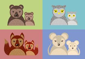 Mom Child Animal Vector Illustration