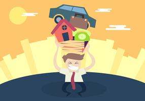 Man Pushing Stress Illustration Vector