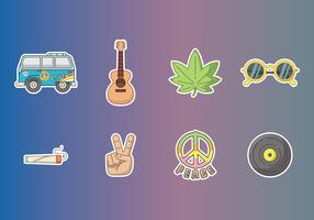 Free Hippie Stickers Vector