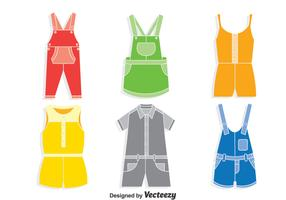 Colorful Overalls Vector Set