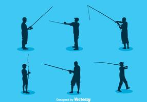 Man Fishing Silhouette Vector