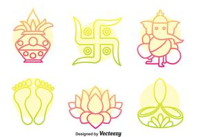 India Culture Colorful Icons Vector