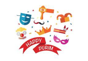 Fun Happy Purim Vector Icons