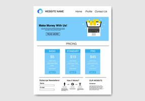 Free Blue Flat Template  Website Vector