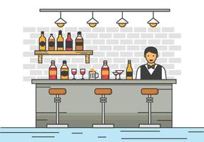 Free Barman Server at the Bar Vector Illustration