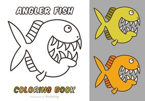Free Cartoon Angler Fish Vector Coloring Book