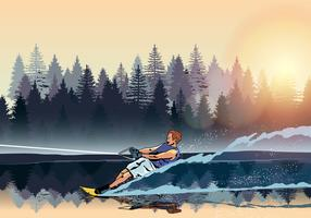 Young Man Water Skiing Vector