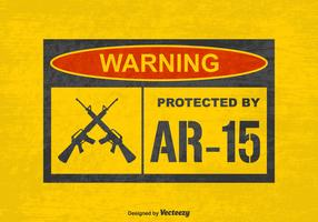 Free Vector Grunge Warning Protected by AR15 Sign