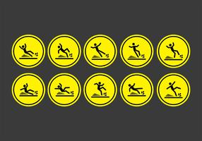 Wet floor sign icons