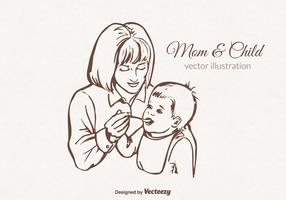 Free Vector Mom And Child Illustration