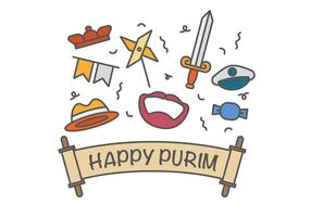 Happy purim vector icons