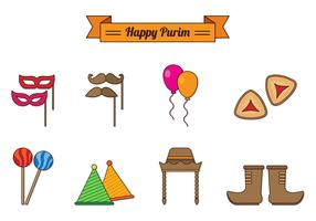 Set Of Purim Celebration Icons