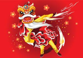 Chinese New Year Card with Plum Blossom and Lion Dance Vector