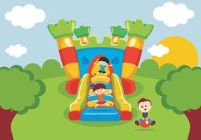 Kids Have Fun On Bounce House