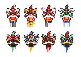 Chinese New Year Lion Dance Head Minimalist Flat Vector Icon Set