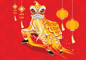 Vector Illustration Traditional Chinese Lion Dance Festival Background