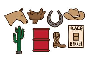 Old West Barrel Racing Vectors