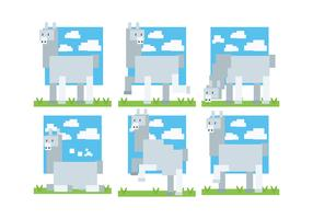 Pixel Style Alpaca Icons Vector