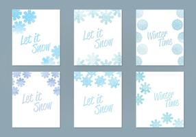 Vector Watercolor Snowflake Cards