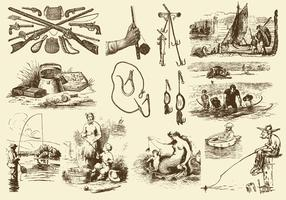 Sepia Fishing Rod Illustrations