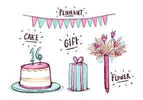Free Sweet 16 Watercolor Elements