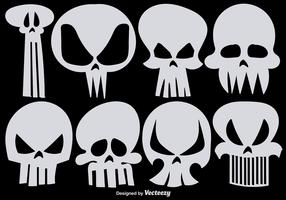 Set of Vector Hand Drawn Skulls