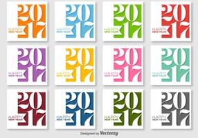 Happy New Year 2017 Vector Labels