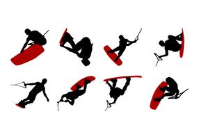 Free Wakeboarding Silhouettes Vector