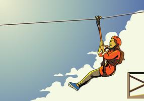 Young Female Zipline Rider