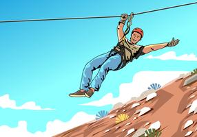 Young Male Zipline Rider