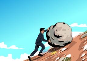 Man Pushing Rock Vector