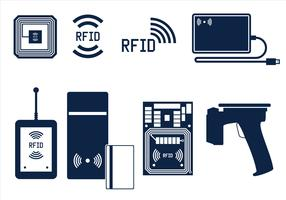 RFID Icon Set Free Vector